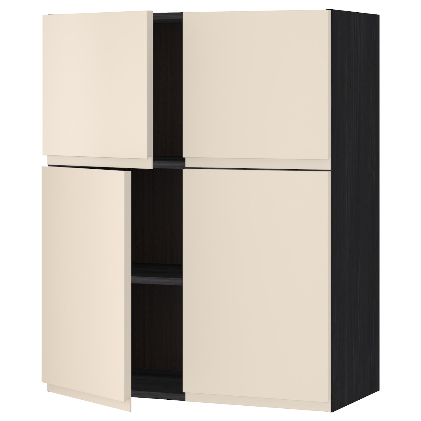 Dark Beige Kitchen Cabinets: METOD Wall Cabinet With Shelves/4 Doors Black/voxtorp