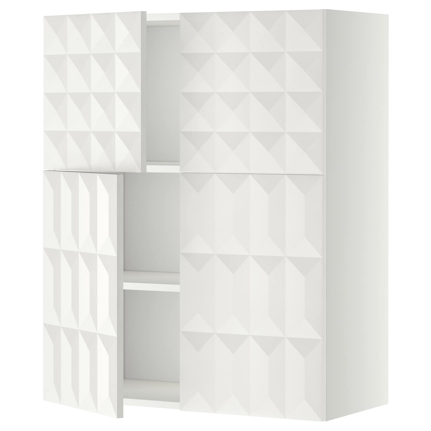 metod wall cabinet with shelves 4 doors white herrestad. Black Bedroom Furniture Sets. Home Design Ideas