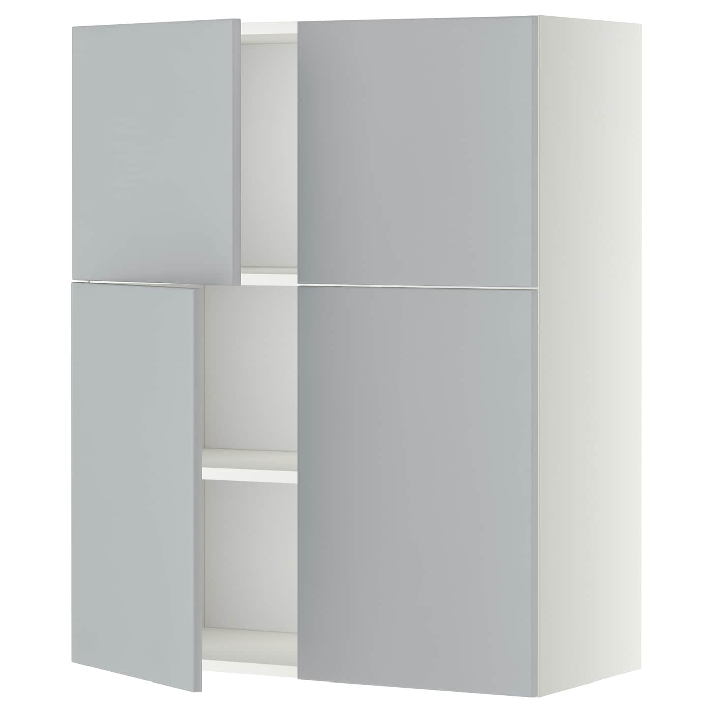 Metod wall cabinet with shelves 4 doors white veddinge for Grey kitchen wall units