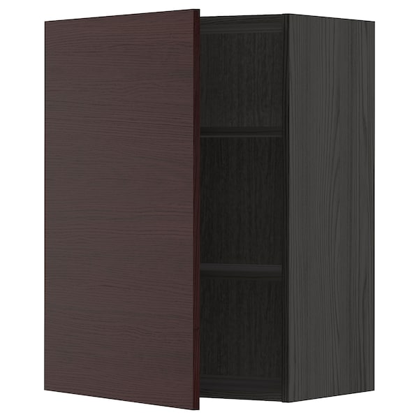 METOD Wall cabinet with shelves, black Askersund/dark brown ash effect, 60x80 cm