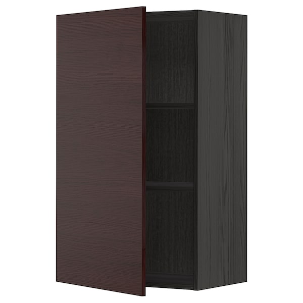 METOD Wall cabinet with shelves, black Askersund/dark brown ash effect, 60x100 cm