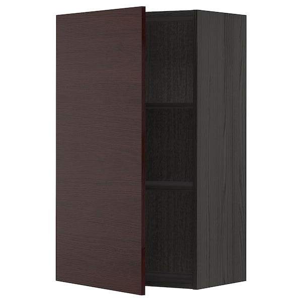 METOD Wall cabinet with shelves, black Askersund/dark brown ash effect, 60x100 cm