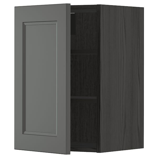 METOD Wall cabinet with shelves, black/Axstad dark grey, 40x60 cm