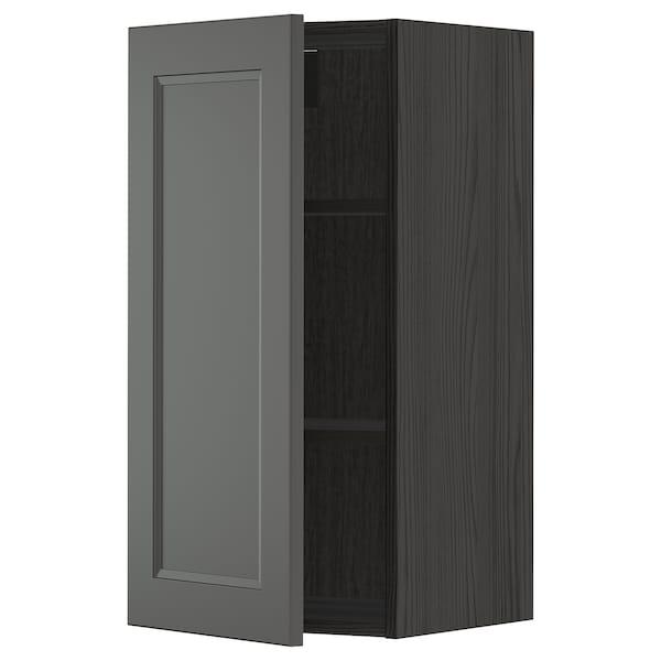 METOD Wall cabinet with shelves, black/Axstad dark grey, 40x80 cm