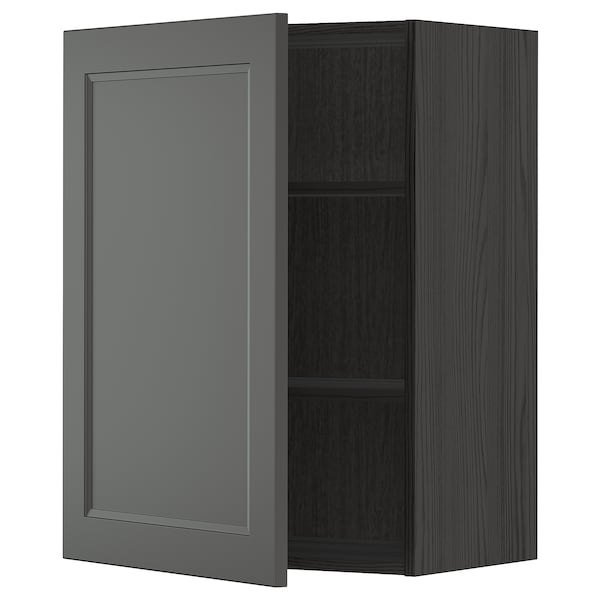 METOD Wall cabinet with shelves, black/Axstad dark grey, 60x80 cm