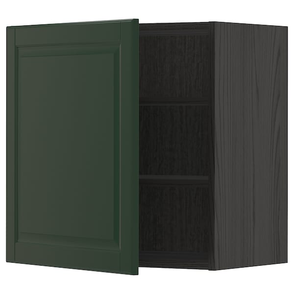 METOD Wall cabinet with shelves, black/Bodbyn dark green, 60x60 cm