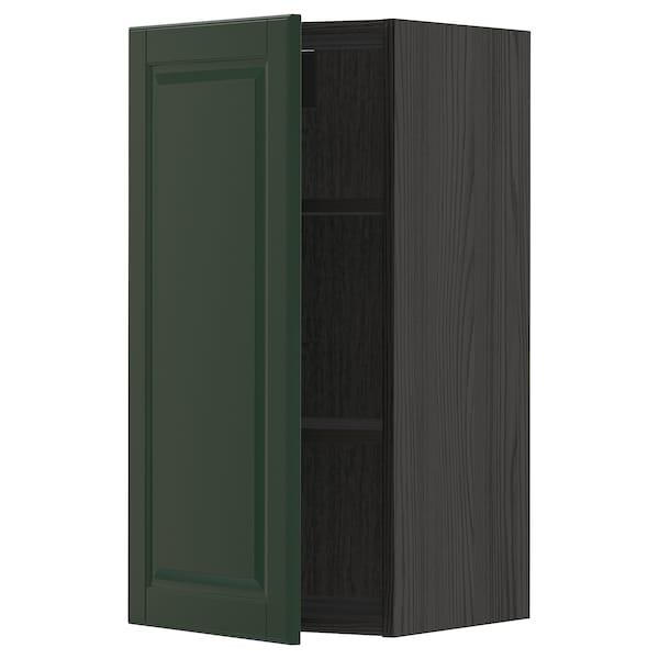 METOD Wall cabinet with shelves, black/Bodbyn dark green, 40x80 cm