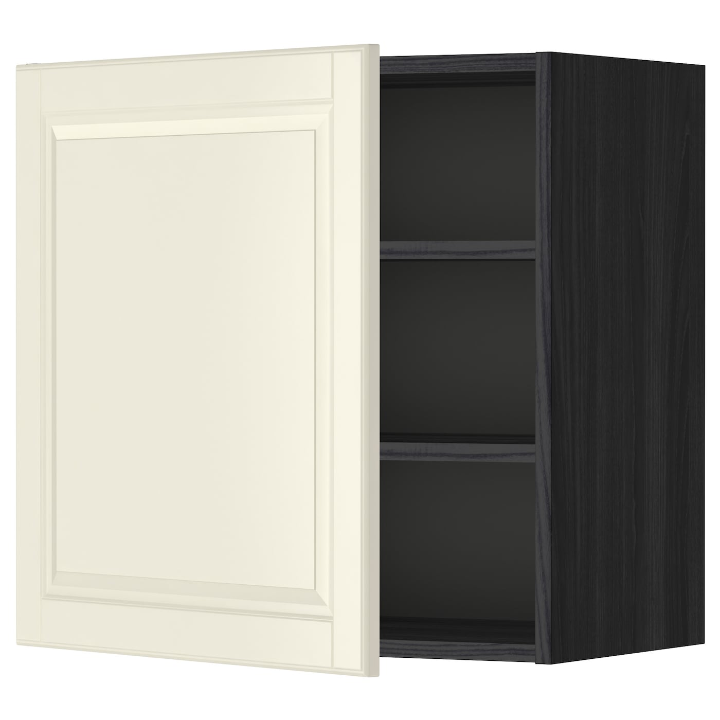 Metod wall cabinet with shelves black bodbyn off white for Off the shelf cabinets