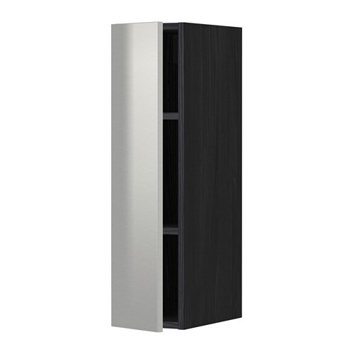metod wall cabinet with shelves black grevsta stainless steel pe s4