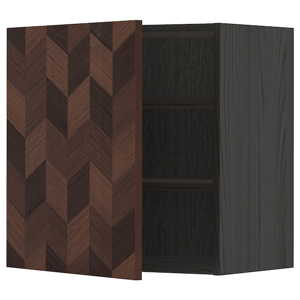 METOD Wall cabinet with shelves, black Hasslarp/brown patterned, 60x60 cm