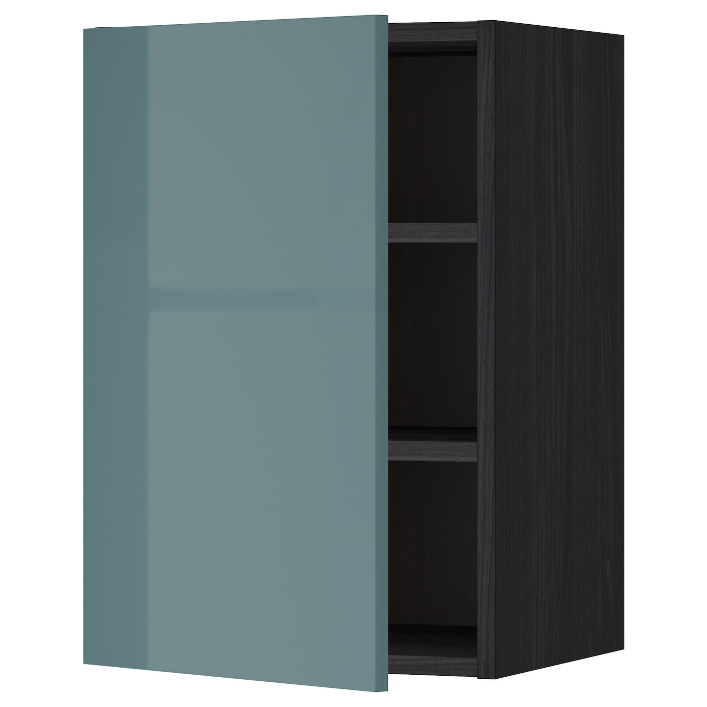 Metod Wall Cabinet With Shelves Black Kallarp Grey
