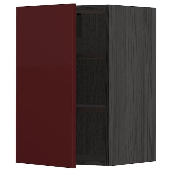 METOD Wall cabinet with shelves, black Kallarp/high-gloss dark red-brown, 40x60 cm