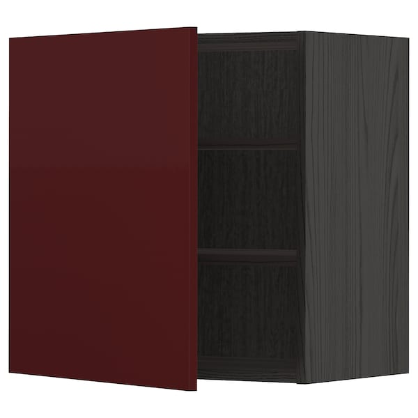 METOD Wall cabinet with shelves, black Kallarp/high-gloss dark red-brown, 60x60 cm
