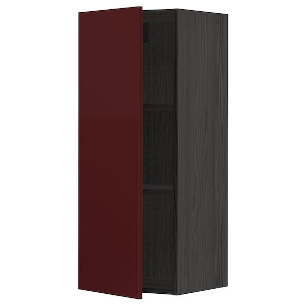 METOD Wall cabinet with shelves, black Kallarp/high-gloss dark red-brown, 40x100 cm