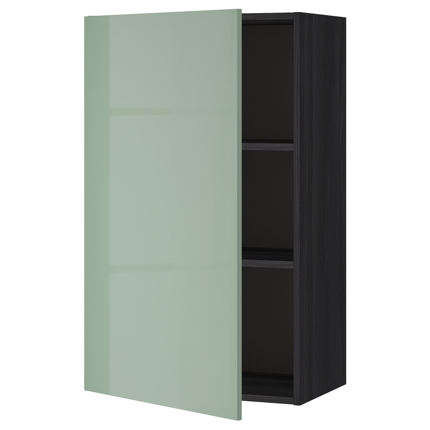 Metod Wall Cabinet With Shelves: METOD Wall Cabinet With Shelves Black/kallarp Light Green
