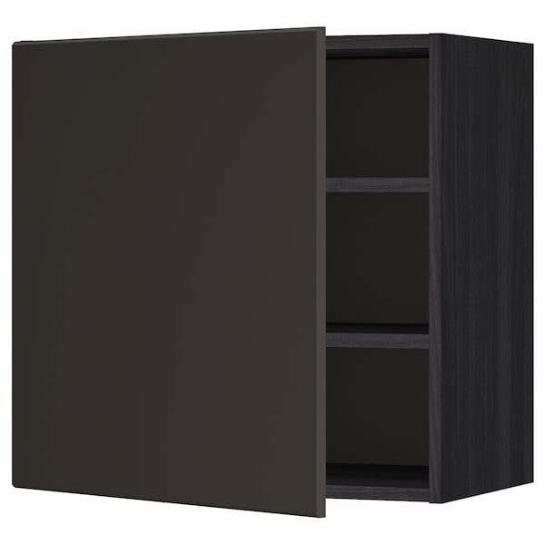 METOD Wall cabinet with shelves, black/Kungsbacka anthracite, 60x60 cm