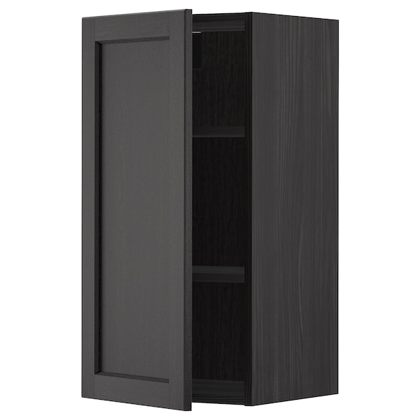 METOD Wall cabinet with shelves, black/Lerhyttan black stained, 40x80 cm