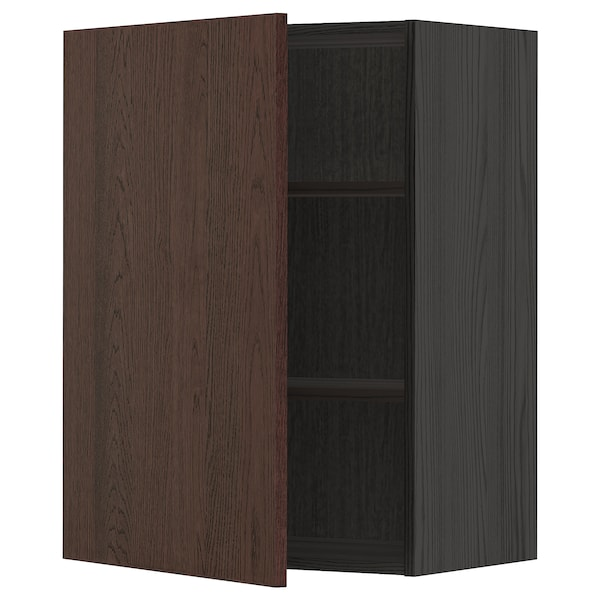 METOD Wall cabinet with shelves, black/Sinarp brown, 60x80 cm