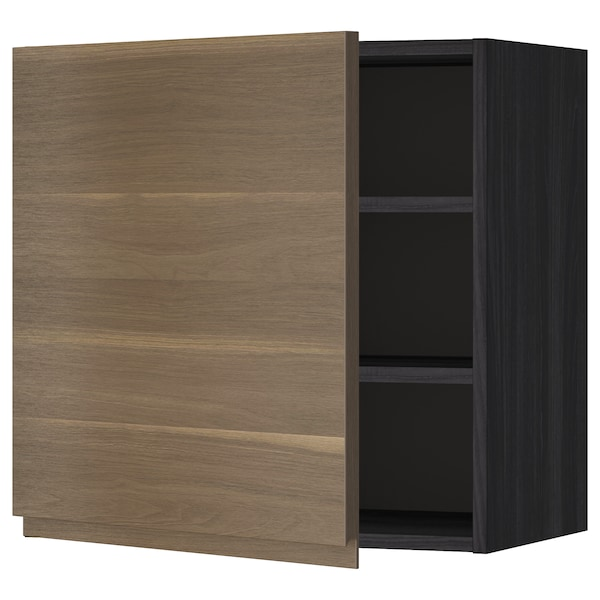 METOD Wall cabinet with shelves, black/Voxtorp walnut effect, 60x60 cm