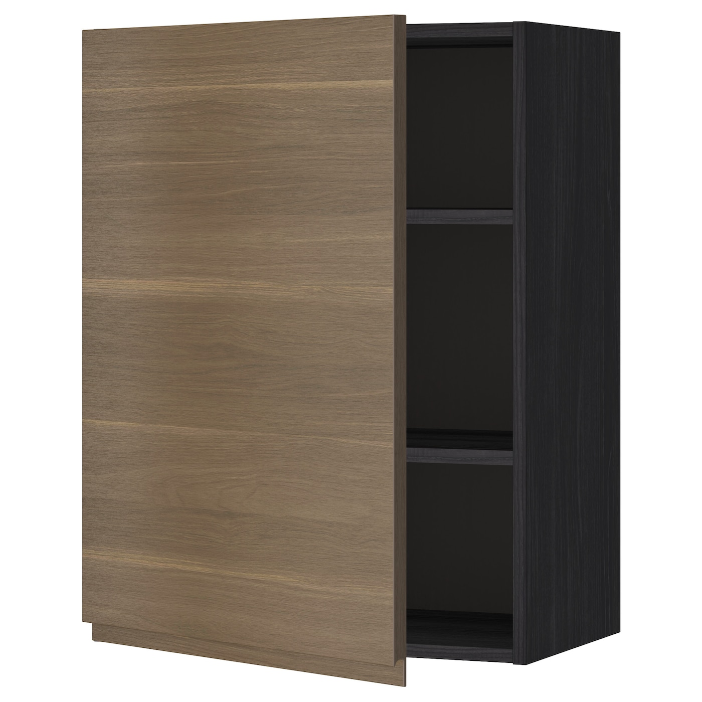 METOD Wall cabinet with shelves Black/voxtorp walnut 60 x ...