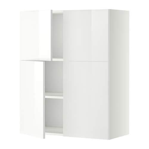 Metod wall cabinet with shelves 4 doors white ringhult for Gloss white kitchen wall cabinets