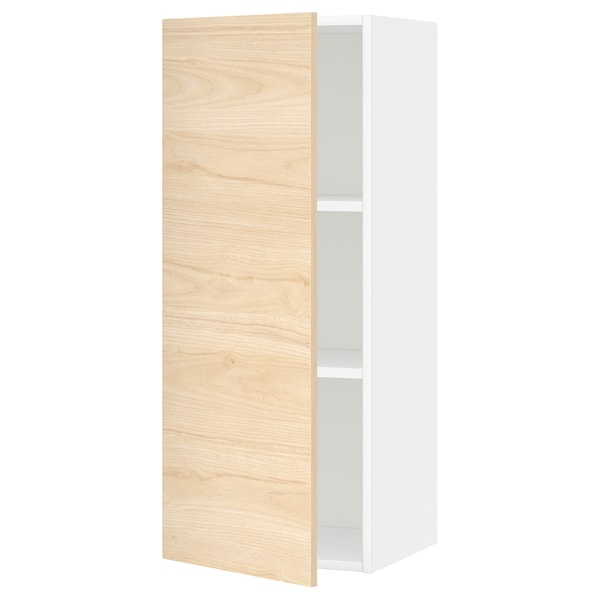 METOD Wall cabinet with shelves, white/Askersund light ash effect, 40x100 cm