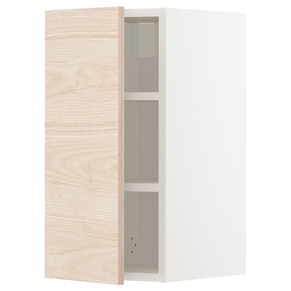 METOD Wall cabinet with shelves, white/Askersund light ash effect, 30x60 cm
