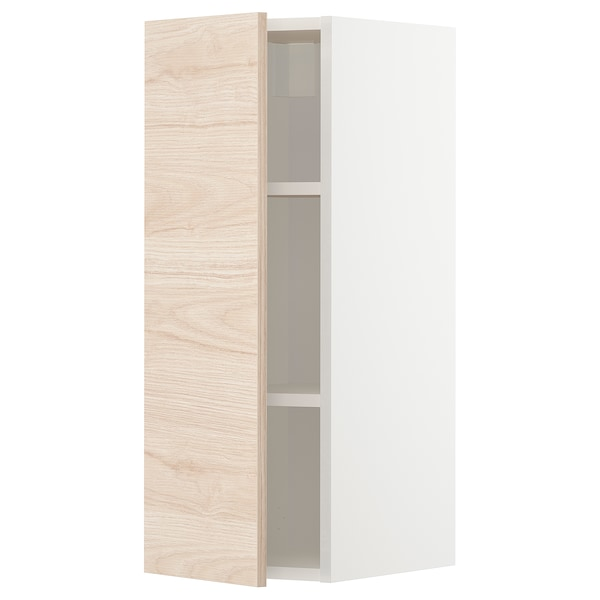 METOD Wall cabinet with shelves, white/Askersund light ash effect, 30x80 cm