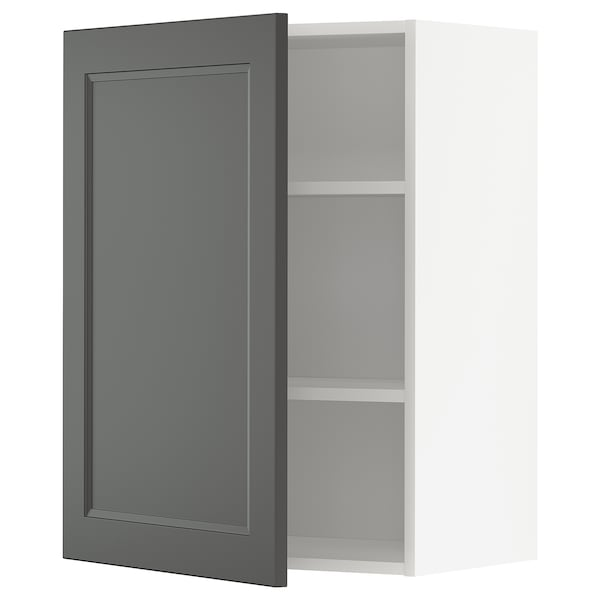 METOD Wall cabinet with shelves, white/Axstad dark grey, 60x80 cm