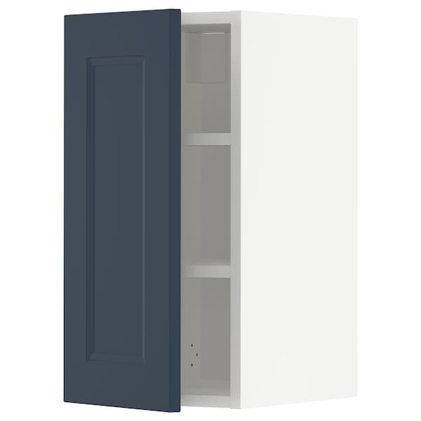 METOD Wall cabinet with shelves, white Axstad/matt blue, 30x60 cm