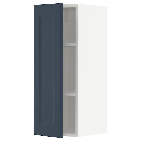 METOD Wall cabinet with shelves, white Axstad/matt blue, 30x80 cm