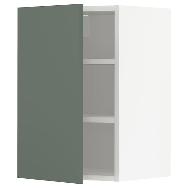 METOD Wall cabinet with shelves, white/Bodarp grey-green, 40x60 cm