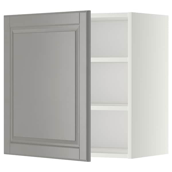 METOD Wall cabinet with shelves, white/Bodbyn grey, 60x60 cm