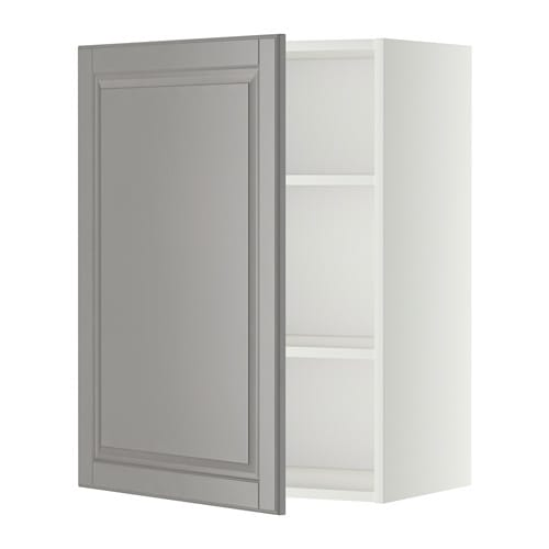metod wall cabinet with shelves white bodbyn grey pe s4