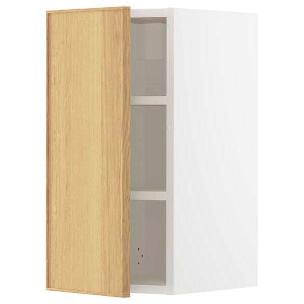 METOD Wall cabinet with shelves, white/Ekestad oak, 30x60 cm