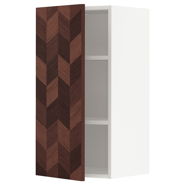 METOD Wall cabinet with shelves, white Hasslarp/brown patterned, 40x80 cm