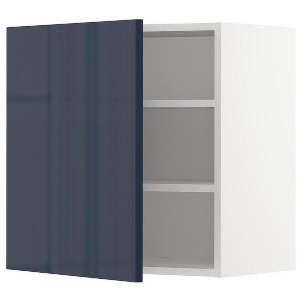 METOD Wall cabinet with shelves, white/Järsta black-blue, 60x60 cm