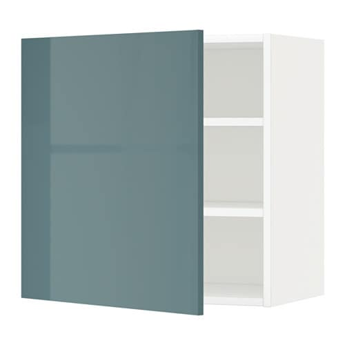 METOD Wall cabinet with shelves White kallarp grey turquoise 60×60 cm  IKEA