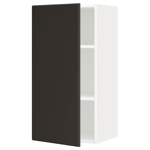 METOD Wall cabinet with shelves, white/Kungsbacka anthracite, 40x80 cm