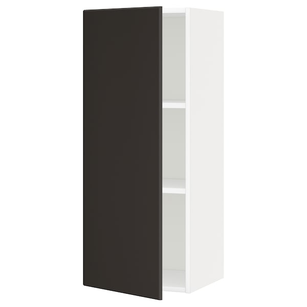 METOD Wall cabinet with shelves, white/Kungsbacka anthracite, 40x100 cm