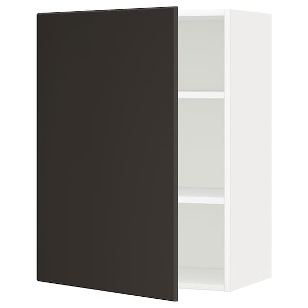 METOD Wall cabinet with shelves, white/Kungsbacka anthracite, 60x80 cm