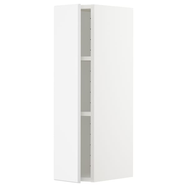 METOD Wall cabinet with shelves, white/Kungsbacka matt white, 20x80 cm