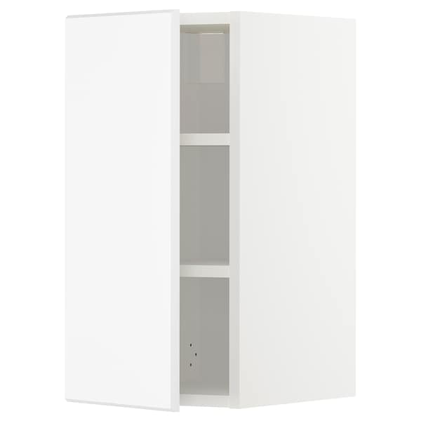 METOD Wall cabinet with shelves, white/Kungsbacka matt white, 30x60 cm