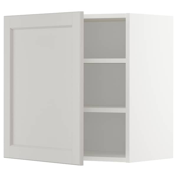 METOD Wall cabinet with shelves, white/Lerhyttan light grey, 60x60 cm