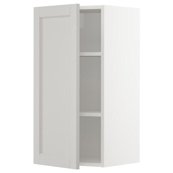 METOD Wall cabinet with shelves, white/Lerhyttan light grey, 40x80 cm