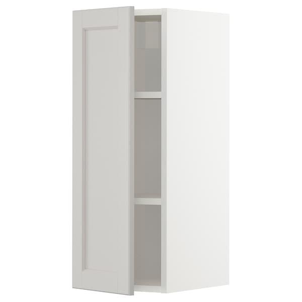 METOD Wall cabinet with shelves, white/Lerhyttan light grey, 30x80 cm