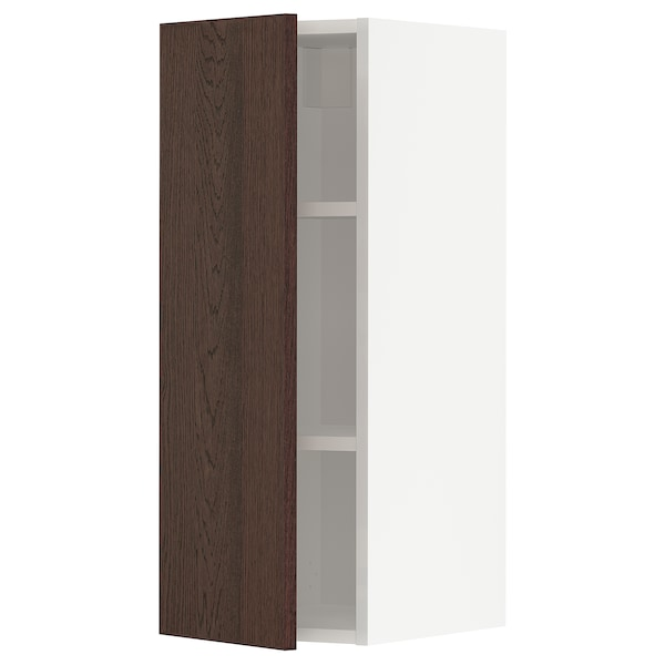 METOD Wall cabinet with shelves, white/Sinarp brown, 30x80 cm