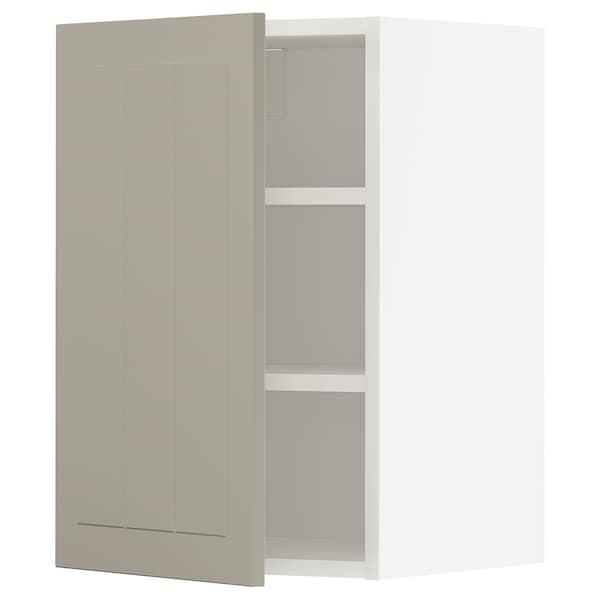 METOD Wall cabinet with shelves, white/Stensund beige, 40x60 cm