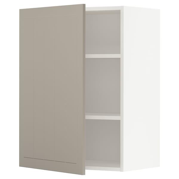 METOD Wall cabinet with shelves, white/Stensund beige, 60x80 cm