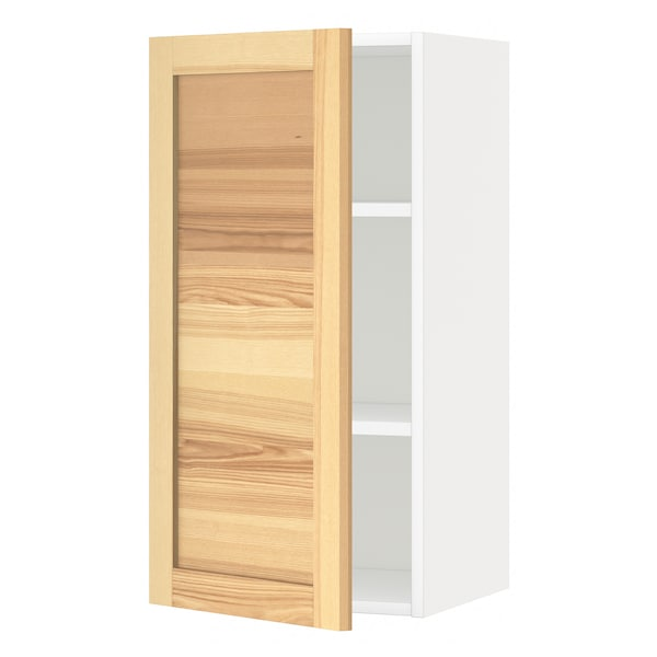 METOD Wall cabinet with shelves, white/Torhamn ash, 40x80 cm